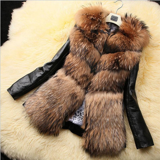 Womens Daily Basic Winter Faux Fur Coat - S / Yellow - womens furs & leathers