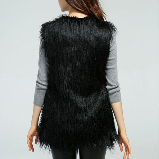Womens Daily Fall & Winter Faux Fur Vest Coat - womens furs & leathers