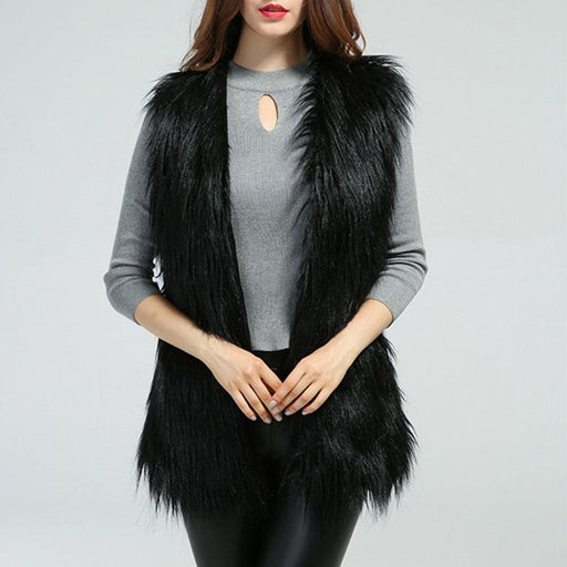Womens Daily Fall & Winter Faux Fur Vest Coat - S / Black - womens furs & leathers