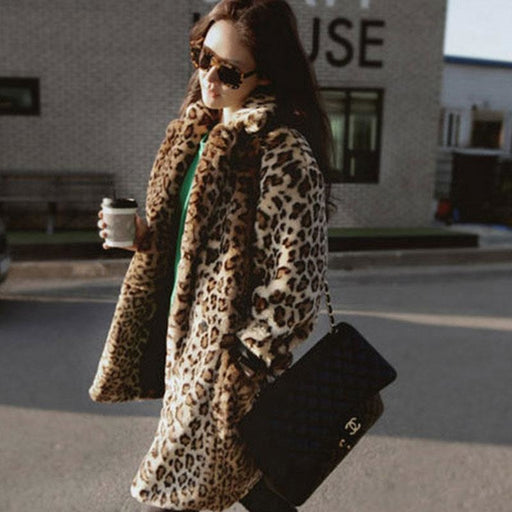 Womens Daily Fall & Winter Leopard Faux Fur Coat - womens furs & leathers