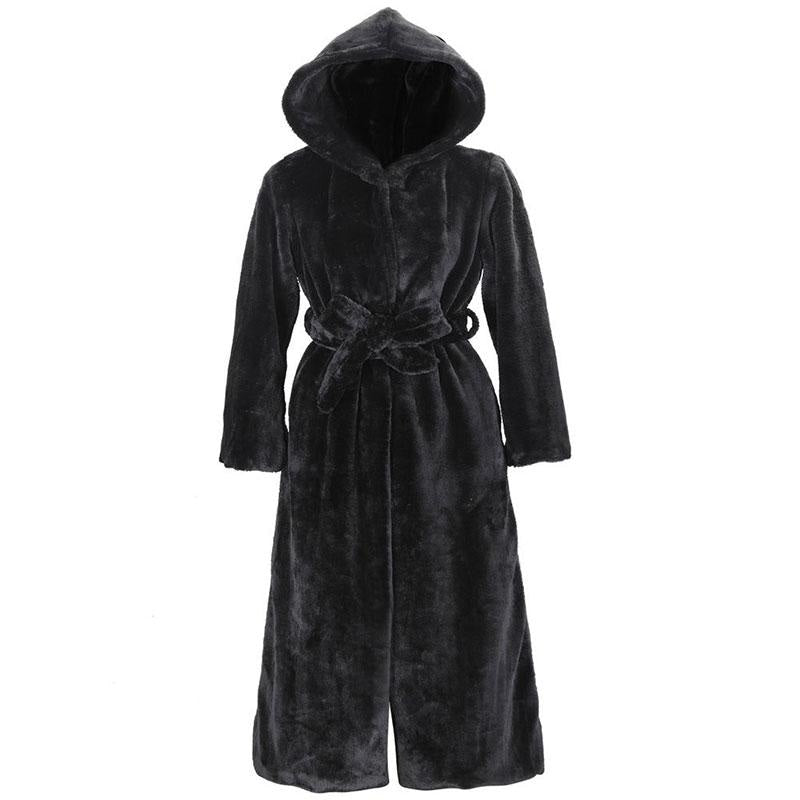 Womens Daily Street Hooded Long Faux Fur Coat - S / Black - womens furs & leathers