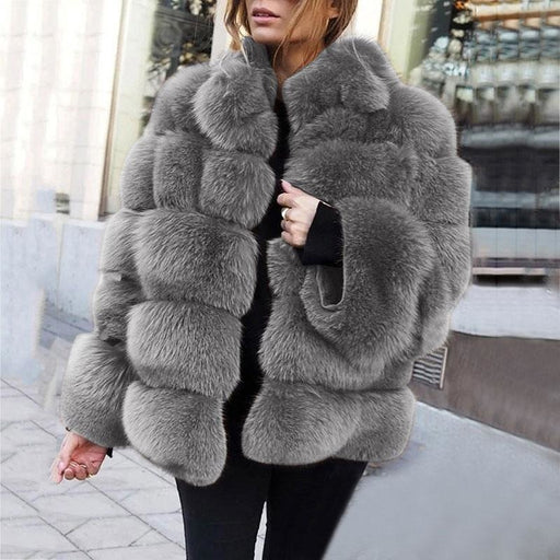 Womens Daily Street Winter Regular Faux Fur Coat - S / Grey - womens furs & leathers