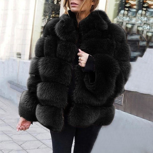 Womens Daily Street Winter Regular Faux Fur Coat - S / Black - womens furs & leathers