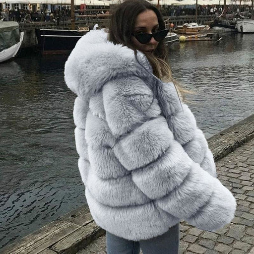 Womens Daily Winter Hooded Faux Fur Coat - S / Grey - womens furs & leathers