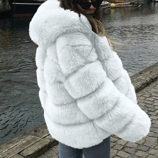 Womens Daily Winter Hooded Faux Fur Coat - S / White - womens furs & leathers
