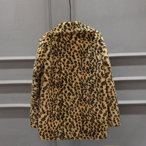 Womens Fall & Winter Leopard Daily Faux Fur Coat - womens furs & leathers
