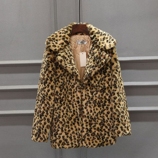 Womens Fall & Winter Leopard Daily Faux Fur Coat - S / Yellow - womens furs & leathers