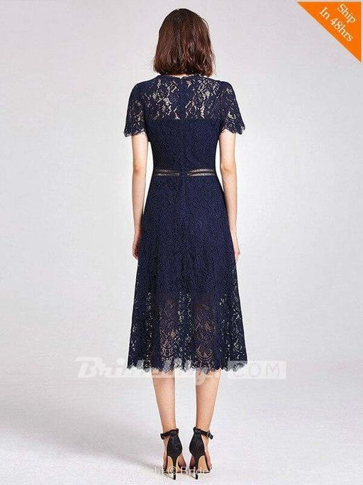 Womens Fashion A-line Lace Short Sleeve Cocktail Dresses - evening dresses