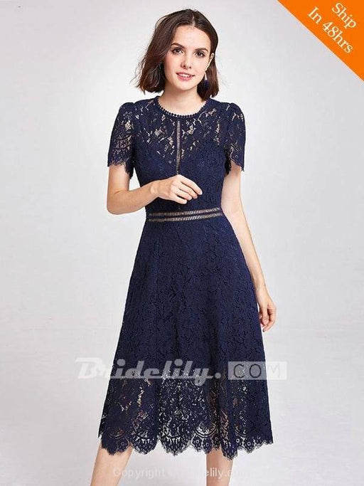 Womens Fashion A-line Lace Short Sleeve Cocktail Dresses - Dark Navy / 6 / United States - evening dresses