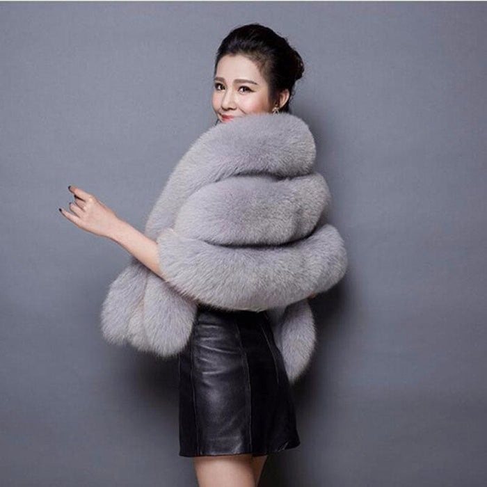 Womens Going out Winter Short Fur Coat - Free Size / Grey - womens furs & leathers