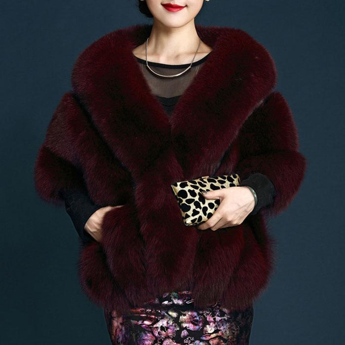 Womens Going out Winter Short Fur Coat - Free Size / Burgundy - womens furs & leathers
