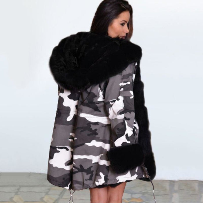 Womens Hooded Camouflage Faux Fur Coats - womens furs & leathers
