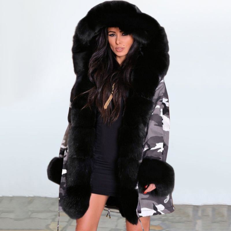 Womens Hooded Camouflage Faux Fur Coats - Black / S - womens furs & leathers