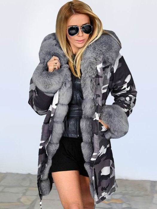 Womens Hooded Camouflage Faux Fur Coats - Gray / S - womens furs & leathers