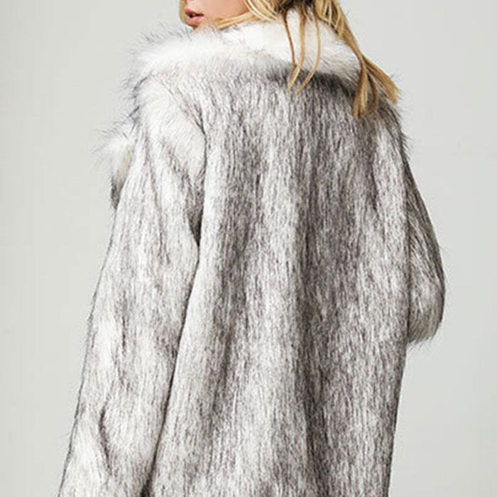 Womens Street Chic Daily Winter Faux Fur Coat - womens furs & leathers