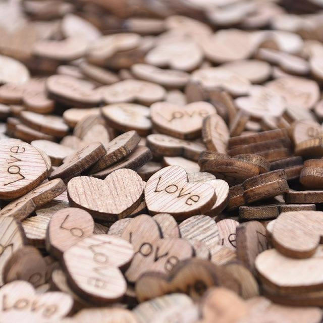 Wooden Love Heart Wedding Decorations (100pcs) | Bridelily - A - wedding decorations