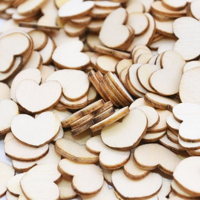 Wooden Love Heart Wedding Decorations (100pcs) | Bridelily - C - wedding decorations