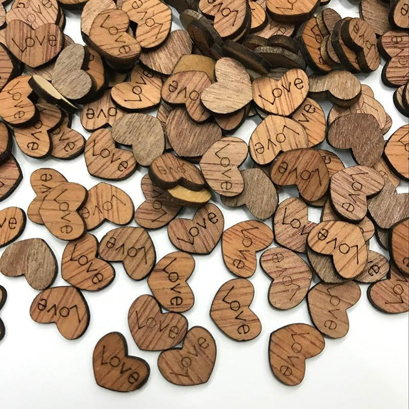 Wooden Love Heart Wedding Decorations (100pcs) | Bridelily - wedding decorations