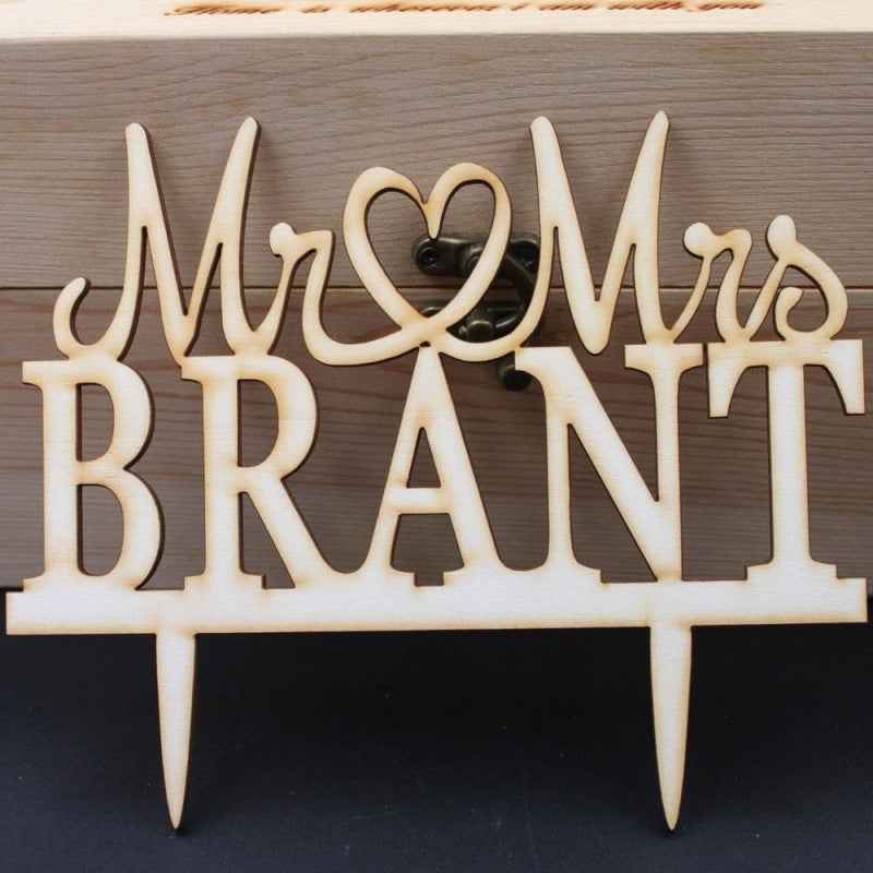 Wooden Wedding Personalized Cake Toppers | Bridelily - cake toppers