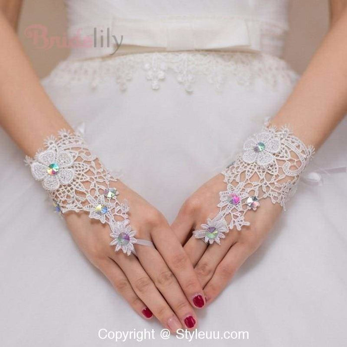Wrist Length Crystal Fingerless Wedding Gloves | Bridelily - wedding gloves