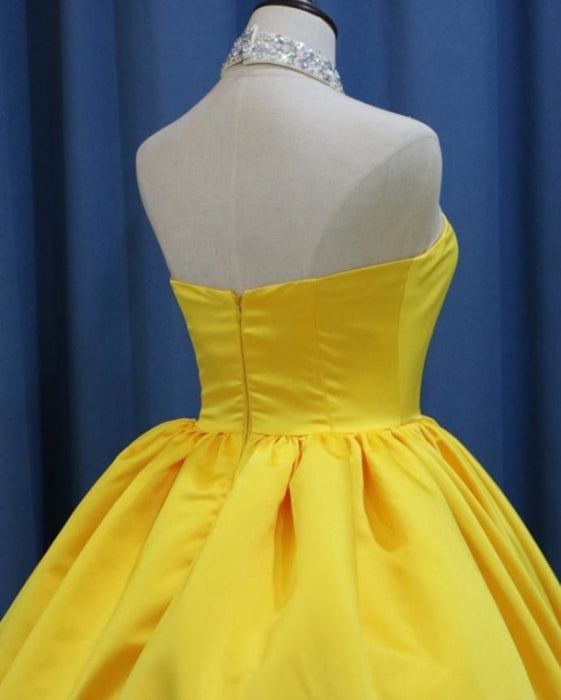 Yellow Ball Gown High Neck Prom with Beading Long Halter Quinceanera Dress - Prom Dresses