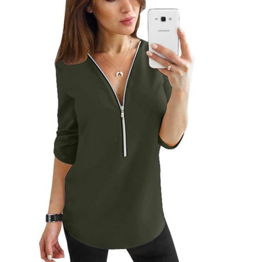 Zipper Short Sleeve Women Shirts - Army Green / XXL - blouses