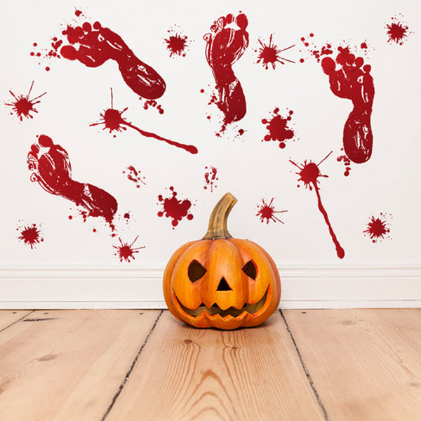 Barkács Halloween Horror Blood Fingermarks Blood Print Wall Sticker