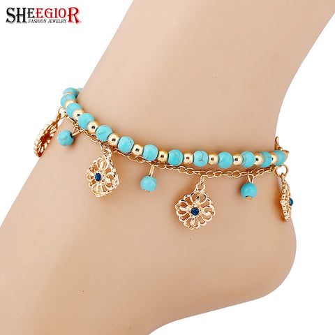 SHEEGIOR Sexy Gold Chain Foot Chain Turquoises Anklets for Women Love Barefoot Sandals Rose 2-Layer Ankle Bracelets Foot Jewelry