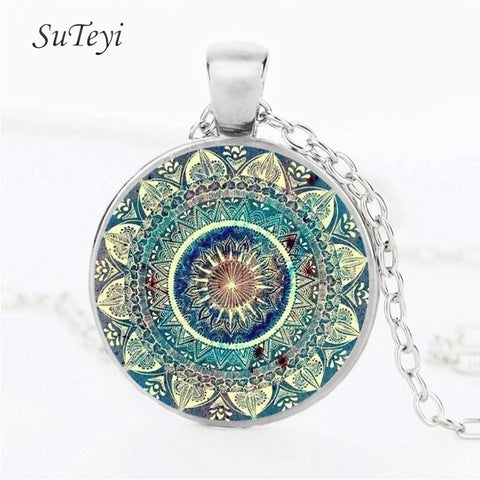 SUTEYI Vintage Glass Dome Necklace Buddhism Chakra Glass Cabochon Pendant Jewelry Om India Yoga Mandala Necklaces For Unisex