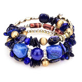 LUBINGSHINE Natural Stone Beads Jewelry Multi Layer Charms Elastic Bracelets Bangles For Women Flower Pendant Bracelet Joyeria
