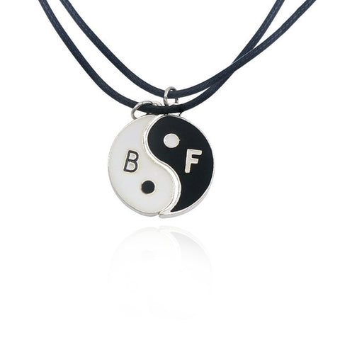 2 PCS Best Friends Necklace Jewelry Yin Yang Tai Chi Pendant Couples Paired  Necklaces&Pendants Unisex Lovers Valentine's Gift