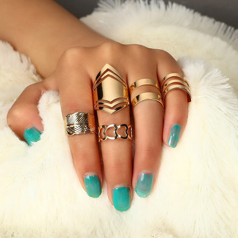 RscvonM 5 pc/set Charm Gold Color Midi Finger Ring Set for Women Vintage Punk Boho Knuckle Party Rings Jewelry Gift for Girl