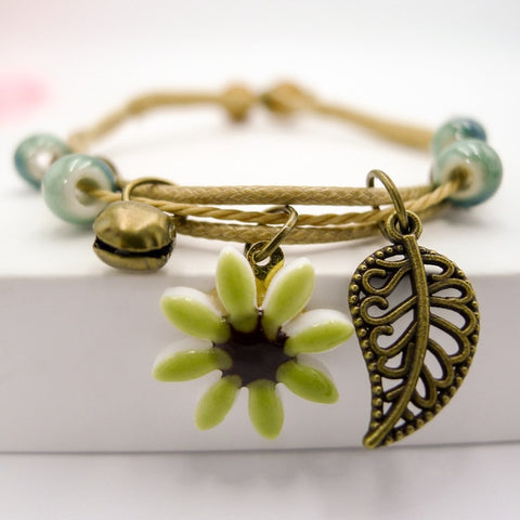 Women's Flower leaf Ceramic hand made DIY Bracelets Artware Retro bracelet for woman girl gift Jewelery wholesale #1241