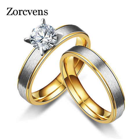 ZORCVENS Gold And Silver Wedding Rings for Women Men Couple Promise Band Stainless Steel Anniversary Engagement Jewelry