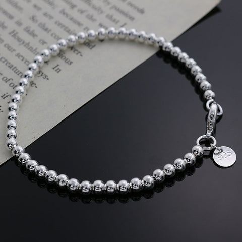 Beautiful fashion Elegant Gold color silver plated 4MM beads chain women lady cute Bracelet high quality Gorgeous jewelry H198