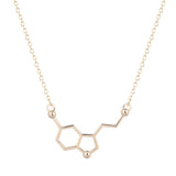 QIAMNI Serotonin Molecule Chemistry Geometric Polygon Pendant Necklace Dopamine Love Jewelry Christmas Party Gift for Girl Women