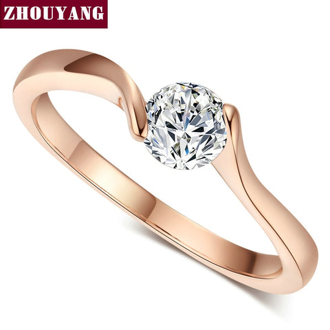 ZHOUYANG Wedding Ring For Women Concise 4mm Round Cut Cubic Zirconia Rose Gold Color Engagement Fashion Jewelry ZYR239 ZYR422