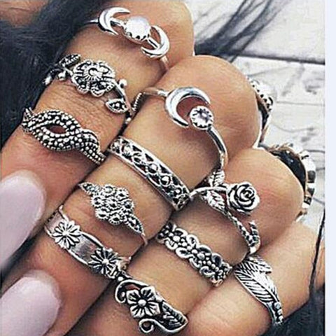Tocona Antique Gold Silver Color Flower Midi Ring Sets for Women Boho Beach Vintage Turkish Punk Knuckle Rings 11pcs/Set 3867