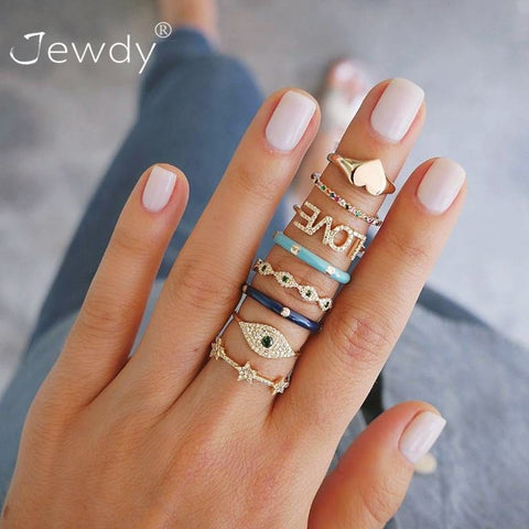 8 Pcs/ Set Bohemian Evil Eye Love Heart Star Crystal Rings for Women Gems Geometry Gold Midi Finger Jewelry Christmas Gifts 2019