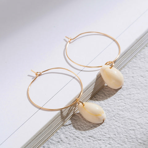 Minimalist Golden Round with Shell Dangle Drop Earrings for Women Female 2018 Ethnic Engagement Wedding Jewelry Accessories Gift