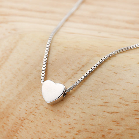 SMJEL Fashion Heart Necklaces for Women 925 Silver Tiny Heart Pendant Necklace Gift Friendship Jewelry collane  collar SYXL062
