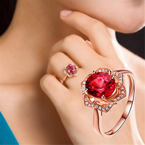 2018 New Fashion Crystal Rhinestone Flower Wedding Rings For Women Jewelry Accessories Rose Gold Engagement Ring Bague Femme