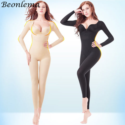 Beonlema Body Shaping Full Cover Bodysuit Seamless Slimming Shapewear Long Sleeve Stretchy Shaper  Women Bellies Modeling S-2XL