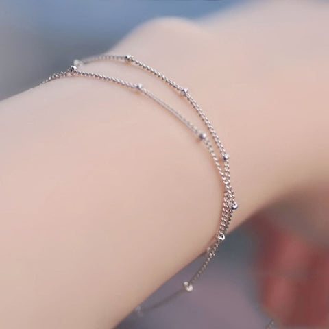 Satellite Chain Golden Allergy Free Bracelets Adjustable Copper Beads Silvery Double-Layer Wedding Exquisite 1PC New