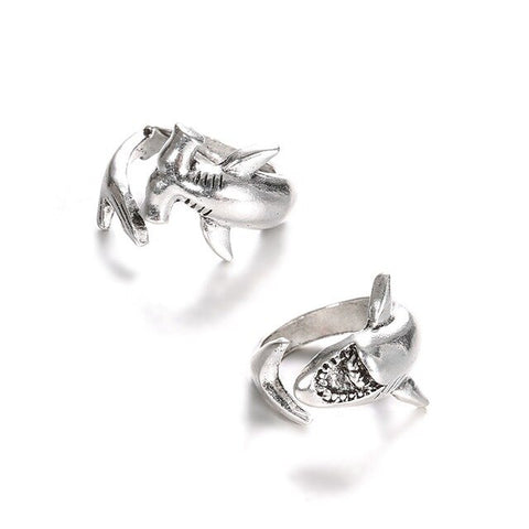2 Pcs/ Set Punk Unique Silver Shark rings Opening Adjustable Ring Set Personality Animal Party Charm Jewelry Christmas Gifts