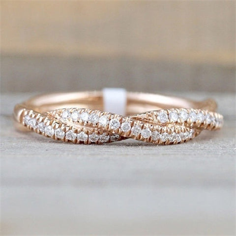 IPARAM Pattern Twisted Rope Hemp Flowers Ring Plating Rose Gold Silver Micro Cubic Zirconia Tail Ring Fashion Women's Jewelry