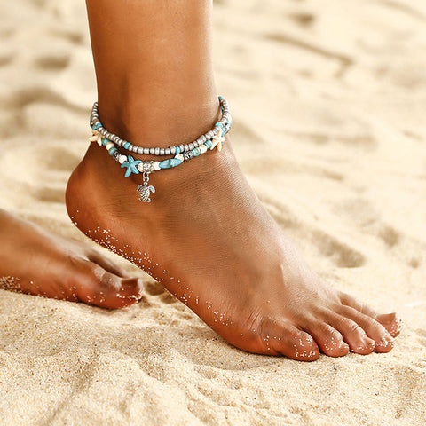 Bohemian style layered Starfish ankle beads chain anklet vintage sea turtle anklet beach Shell Charm Bracelet Boho jewelry ns15