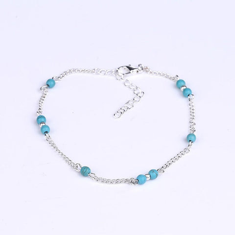 Women Imitation Nature Stone Beads Silver Handmade Anklet Foot Chain Personality Fashion Ankle Bracelet Female Jewelry Gifts