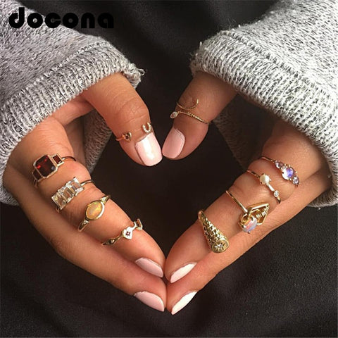 docona Colorful Rhinestone Geometric Rings Set for Women Girl Metal Snake Heart Knuckle Midi Rings Set Anillos 10pcs/1set 6437