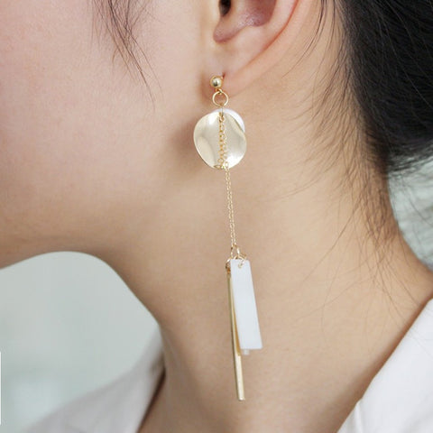 2018 New Hot Fashion Original DIY Multilayer Asymmetry Long Natural Shell Round Metal Stick Tassel Drop Earrings Women Jewelry